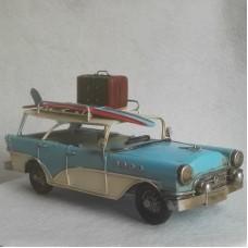 Amerikaanse stationwagon - 50er jaren - blauw - wit - blikken auto - 32x14x17cm
