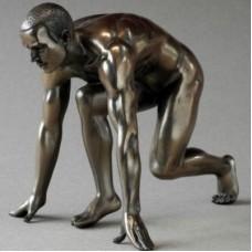 Atleet bronskleurig beeldje van Body talk man 51157uw