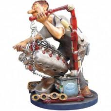 Automonteur – garage – motorblok – beeldje – beroepen – profisti – 13.5x11x20 cm