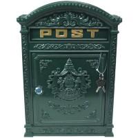 Groene gietijzeren brievenbus