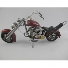 Chopper – easyrider model – blikken motor – donkerrood – 47 x 13 x 23 cm -woondecoratie - maddeco