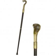 Cobra wandelstok van hout met ijzer 93cm