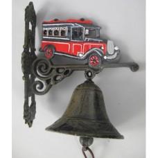 Gietijzeren deurbel met personenbus - gietijzer - bel