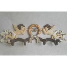 Gietijzeren kapstok van engeltjes (4 wandhaken) - engel - gietijzer
