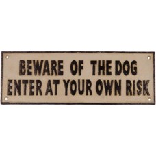 Gietijzeren wandbord Beware of the dog - gietijzer