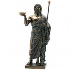 Hippocrates - beeldje - bronskleurig - aesculaap - eed van hippocrates - 16x20x37cm