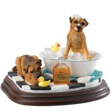 Honden in bad - beeldje van Border fine arts studio