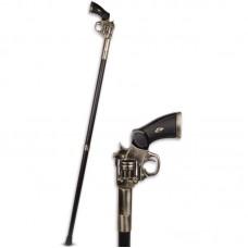 Houten wandelstok met handvat in vorm van pistool 40wa