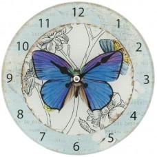 Kleine ronde glazen klok met vlinder Clayre and Eef