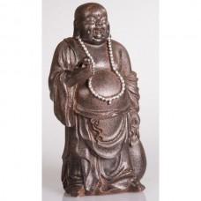 Beeldje van lachende staande dikbuik boeddha polystone