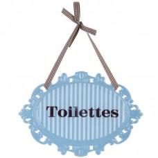 Lichtblauw ijzeren toilet bordje Clayre and Eef 3512y6