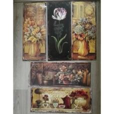 MadDeco - Blikken - decoratie - borden - bloemen - winkel - 5 stuks - set