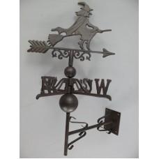MadDeco - gietijzeren - windvaan - heks - bruin