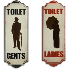 MadDeco metalen toilet borden gents - ladies - set