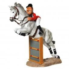 Ruiter met springpaard - beeldje – sport – funny sports – warren stratford – 21.5x11x23 cm
