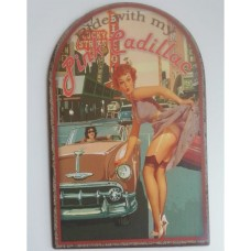 Twee blikken Reclame borden Pink Cadillac