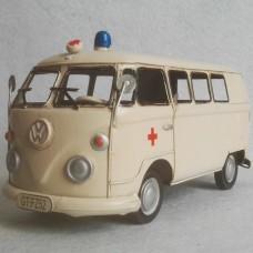Volkswagen T1 bus - ambulance - blikken woondecoratie - met VW licentie - 27x11x23cm