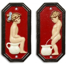 Gietijzer  toilet  bordjes  jongen  meisje  set  toiletbordjes  rood