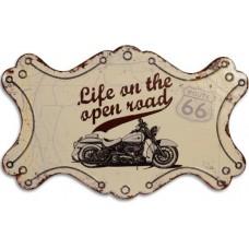 Blikken wandbord motor route 66 life on the open road blik decoratiebordje maddeco