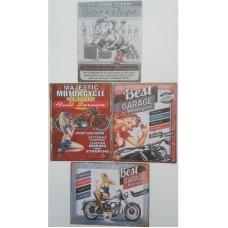 vier blikken reclameborden Motor Garage