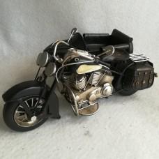 MadDeco zwarte blikken vintage motor met zijspan