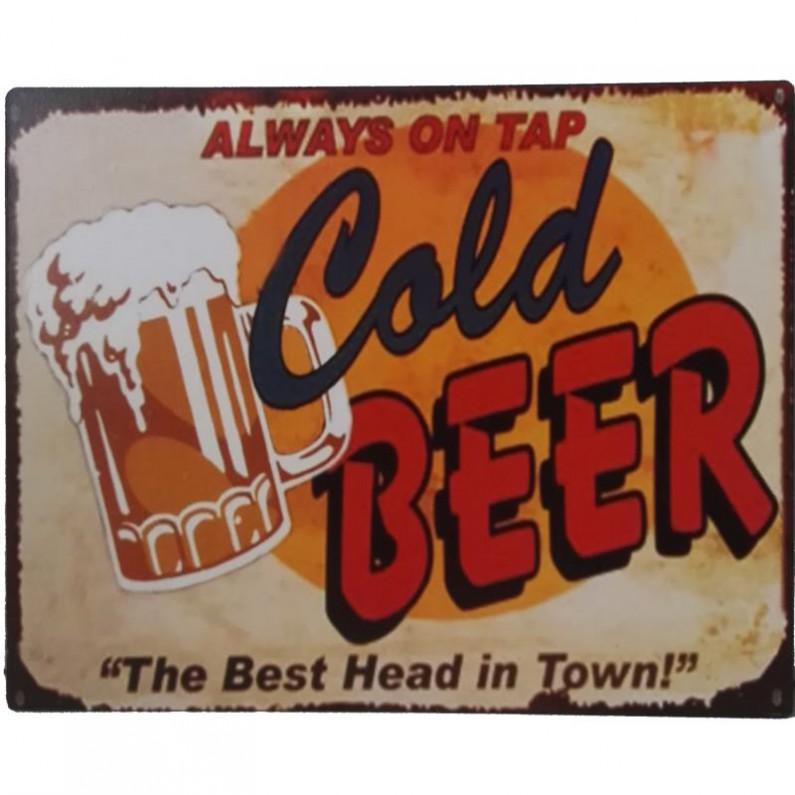 Always on tap Cold beer decoratie bordje sl024