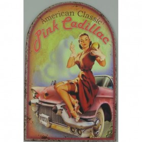 American classic pink Cadillac - decoratie bord 300723