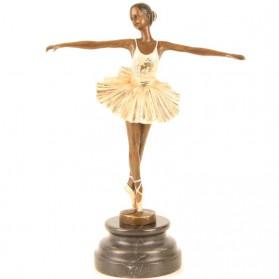 Ballerina van brons - beeldje op sokkel