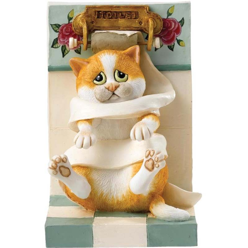 Beeldje van poes in gevecht met wc rol comic and curious cats for Decoratie wc