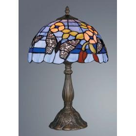 Blauwe Tiffany tafellamp ijzeren voet en vlinder decoratie 001ft