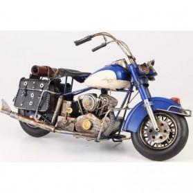 Blauwe blikken motor in Harley Davidson stijl