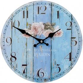 Blauwe ronde glazen klok - Paris met rozen 5030lk6