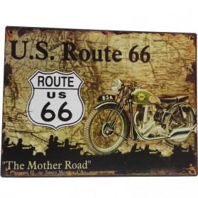 Blikken decoratiebordje Route 66 met BSA motor sl807