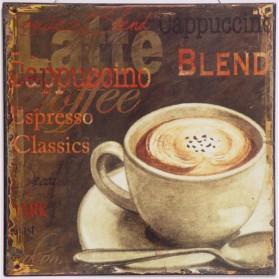 Blikken decoratie bordje met klassieke soorten koffie 832sn