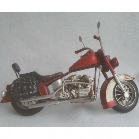 Blikken motor – Harley Davidson stijl –  rood met wit – 28 x 11 x 14 cm -woondecoratie - maddeco