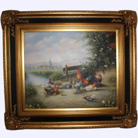 Boerenlandschap olieverf op linnen schilderij