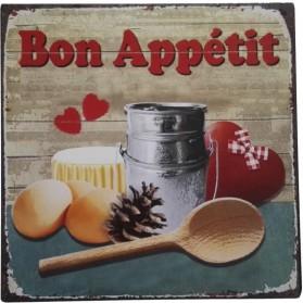 Bon Appetit blikken decoratie bordje sl49