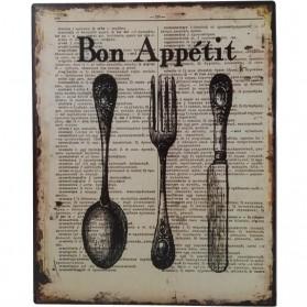 Bon appetit decoratie bordje met bestek sl002