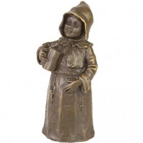 Bronzen tafelbel van drinkende monnik 8tj