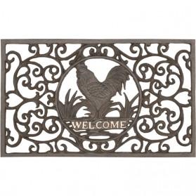 Bruine ijzeren deurmat met haan en welcome 0310i5