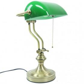 Bureaulamp messingkleur met groene vintage kap