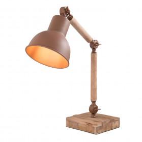 Bureaulamp - hout met metaal - bruin - clayre and eef - 29x15x45cm