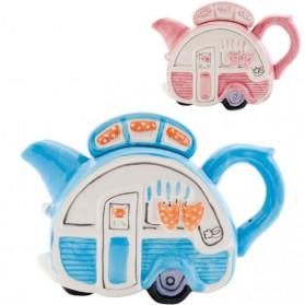 Caravan van keramiek als theepot in rose of blauw 2500etec6