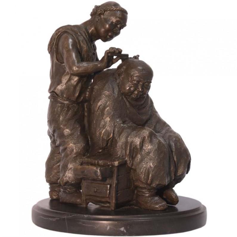 Chinese barber bronzen beeld kapper