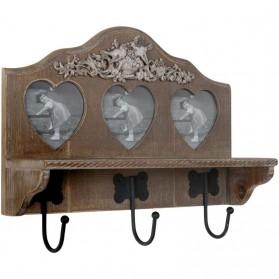 Chocoladebruine houten kapstok met fotolijstjes Clayre and Eef
