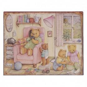 Leuk decoratie bordje voor de kinderkamer met berenfamilie 861sn