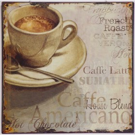 Diverse soorten koffie op blikken decoratie bordje 932sn