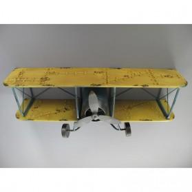 Dubbeldekker - vliegtuig - ijzer - wandrek - geel - 80x33x40cm