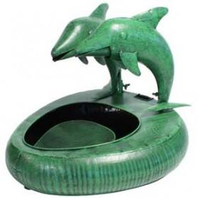 Duikende dolfijnen - metalen fontein als tuindecoratie gs51008