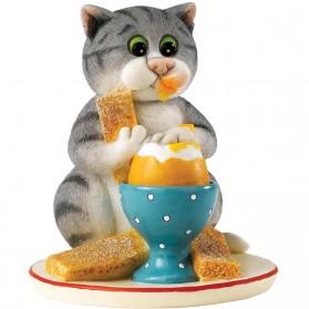 Ei met toast - beeldje comic and curious cats